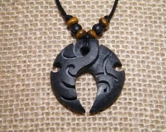 Primitive Mens Necklace carved stone pendant tribal jewelry surfer necklace minimalist necklace black rock pendant carved tribal pendant