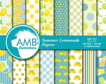 Lemonade Digital Papers, lemon paper, Lemonade paper, Picnic Paper, lemon scrapbook pages for your projects  AMB-1331