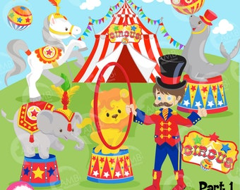 Circus Clipart, Lion, Seal, Horse, Elephant, Ringmaster, Elephants, Clowns Clipart, Commercial Use, Birthday Clipart, AMB-1158