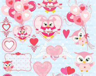Valentine clipart, Owl clipart, Valentine owl, heart clipart, Love Clipart,commercial use, vector graphics, AMB-1147