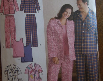 Simplicity 3971, sizes XL-XXXL, UNCUT sewing pattern, craft supplies, mens, womens, teens, pajamas, knit tank top