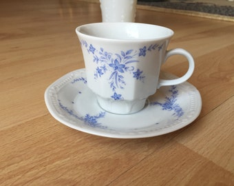 Vintage blue Mitterteich teacup and saucer