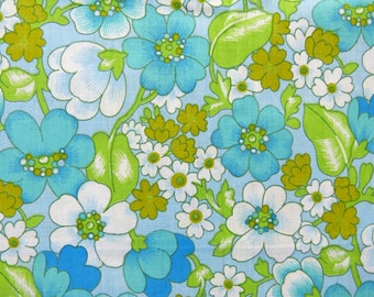 Turquoise & green flower unused fabric double bed bolster pillow case - French 70s vintage