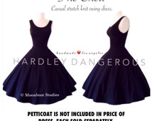 "Jet BLACK Swing Dress 40"" length handmade by HARDLEY DANGEROUS Couture, Mod Scoop Neck, Sleeveless Pin Up Party Dress, Casual Stretch Knit"