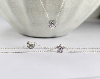 Sun Moon Star Necklace  .Cubic Zirconia charm Jewelry. Best friend set. Set of 3 or three best friends necklaces.Three Sisters Gift,