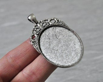 6pcs 40x30mm Pad Antique Silver Large Oval Cameo Cabochon Base Setting N215