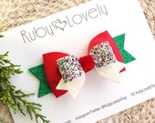 Baby/Girls Christmas Bows, Christmas Headband, Red White Bows, Christmas Bows, Christmas Glitter Bows,  Baby Bows, Ruby Lovely Shop