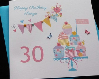 Handmade Personalised Cupcakes & Bunting Birthday Card