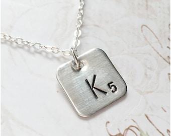Scrabble Necklace - One initial - Personalized Hand Stamped Scrabble Necklace - 925 Sterling Silver Initial Pendant Custom Alphabet Necklace