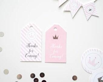 Gold Glitter Princess Tags, Princess Birthday Thanks for Coming Tags, Pink and Gold Glitter Princess Tags, Thanks for Coming Princess Party