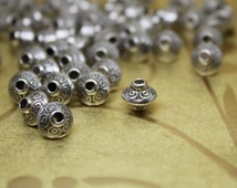 20 Beautiful  Bicone shape beads, Tibetan Style Bead Spacers, Antique Silver Color.   Immediately ship from California.