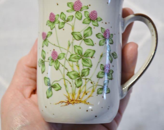 Stoneware Cup Mug Sweet Clover Green Purple Vintage Stoneware Japan  PanchosPorch