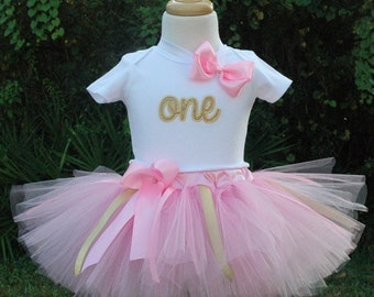 pink and gold 1st birthday girl outfit,one year old girl birthday tutu outfit, first birthday outfit, baby girl birthday boho baby pink tutu