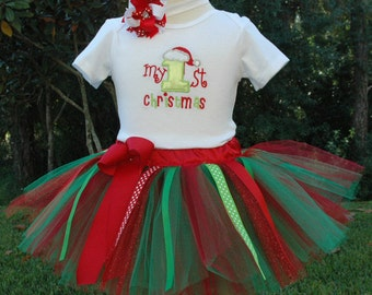 1st Christmas Outfit-My First Christmas Baby Girl Tutu Outfit Can Be Personalized With Name-Christmas -Onesie- Girl Christmas Photo Outfit