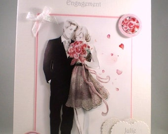 Engagement Greeting Card,Handmade,3D,Decoupage,Personalise
