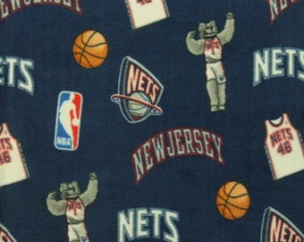 NBA New Jersey NETS All Over Licensed Fleece Fabric Sold By The Yard