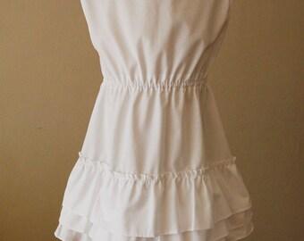 Cream Layered Ruffle Dress