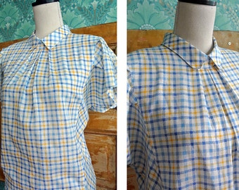 VINTAGE 80s Blue and Yellow Plaid Checkerd Blouse Womens M