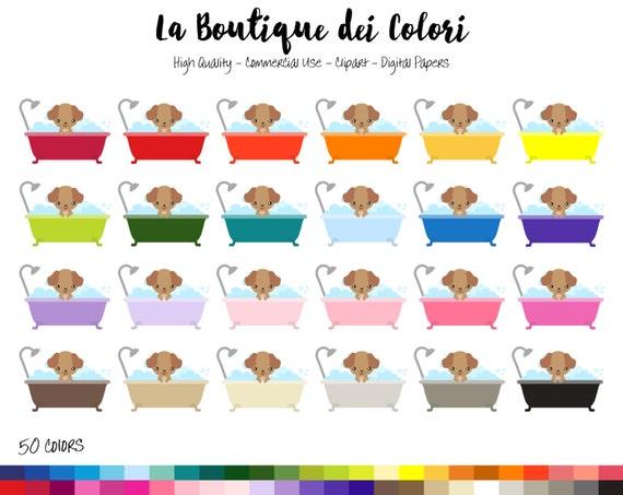 50 Rainbow Dog Bath Clipart, Cute bubble bath Digital ...