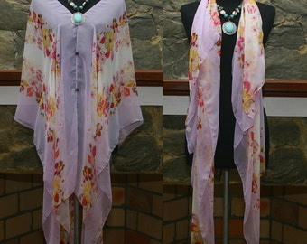 New Vintage Floral Artwork Prints Silk blend Beach Cover Up Poncho Top blouse Scarf Free size US 8-24