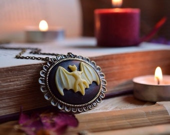 Bat Cameo Necklace//Bat Jewelry//Halloween//Psychobilly//Pin Up//Victorian Goth//Rockabilly//Gothic//Macabre Jewelry