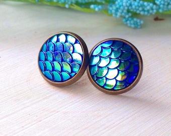 Mermaid Scale Stud Earrings//Mermaid Jewelry//Fish Scales//Nautical//Summer//Ocean//Beach//Siren Jewelry