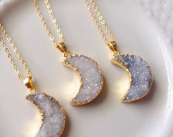 18k gold plated moon druzy necklace, boho, bohemian, aura , natural stone, crystal, druzy jewelry, layering necklace