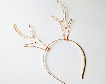 Elegant Gold Reindeer Antler Headband, Golden Metal Wire Rudolf Antlers, Deer Ears Christmas Hair Band, Xmas Accessory, Glamorous Photo Prop