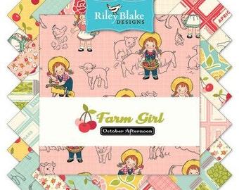 """Farm Girl 1/2 Yard Bundle by October Afternoon for Riley Blake, 21 - 1/2 yard cuts (18"""" x 42"""")"""