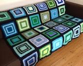 "Blue Crochet Blanket Green Crochet Afghan 50""x60"" (127cm x 152cm)"