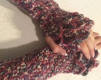 READY  to ship! Dragon scale gloves multicolor fingerless gloves, Crocheted  Fingerless Half Gloves  women fingerless, wool acrylic  gloves