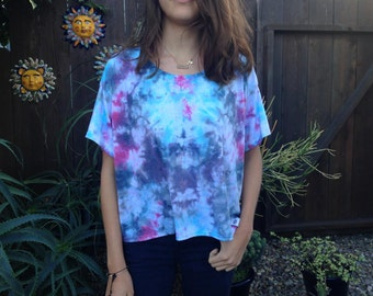 Free Shipping Hand tie-dyed psychedelic T-shirt! women t shirt