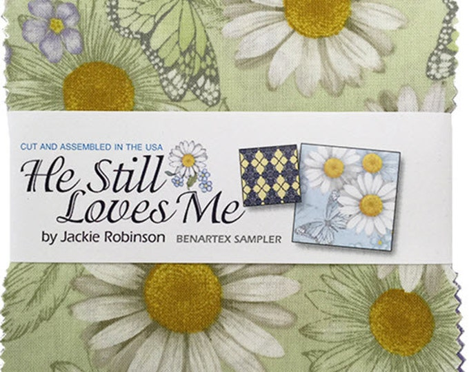 "He Still Loves Me Charm Pack - (42) 5"" x 5"" Squares - Cotton Quilt Fabric - by Jackie Robinson for Benartex - (W3514)"