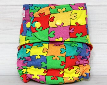 Puzzles - One Size AI2 Cloth Diaper