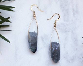 Long Smoky Mystic Blue Quartz Earrings