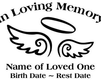In Loving Memory Angel Wings Halo Decal Sticker