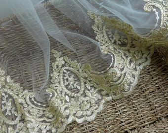 Exquisite Gold Lace, Alencon Bridal Lace Trim, Wedding Gown Mesh Lace Fabric