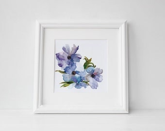 Violet watercolor art print