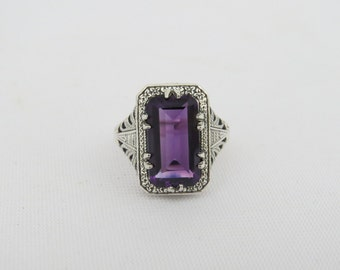 Vintage Sterling Silver Amethyst Filigree Ring Size 8