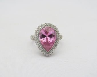 Vintage Sterling Silver Pink & White Topaz Halo Ring Size 8