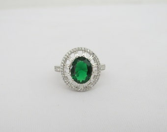 Vintage Sterling Silver Emerald & White Topaz Halo Ring Size 7