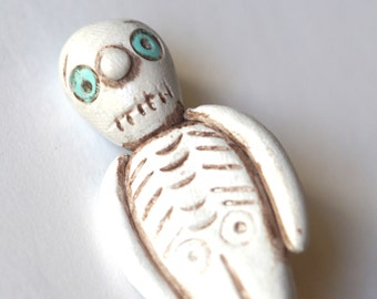 Halloween Skeleton Pin Brooch made from Polymer Clay