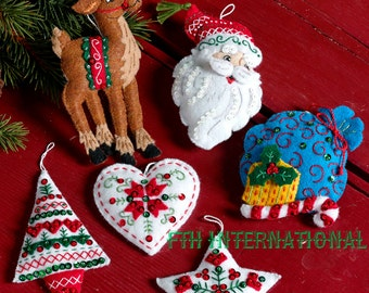 Bucilla Nordic Santa ~ 6 Pce. Felt Christmas Ornament Kit #86666, European, Deer DIY