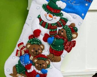 "Bucilla Fun In The Snow ~ 16"" Felt Christmas Stocking Kit #86484 Snowman, Bear DIY"