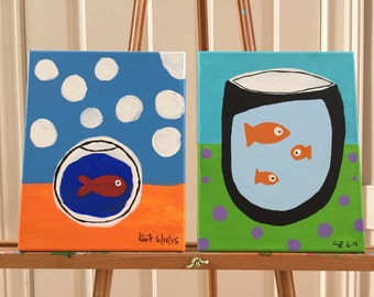 2 goldfish paintings inspired by Matisse