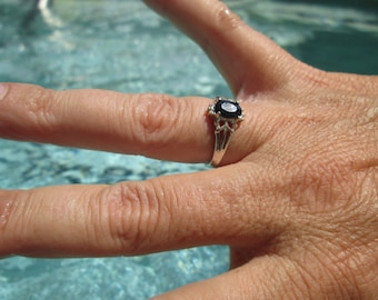 Black Sapphire and Sterling Silver Ring Size 7.25