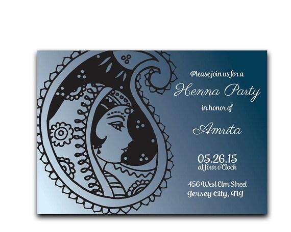 Sangeeth And Mehndi Ceremony Invitation : Items similar to henna party invitation mehndi