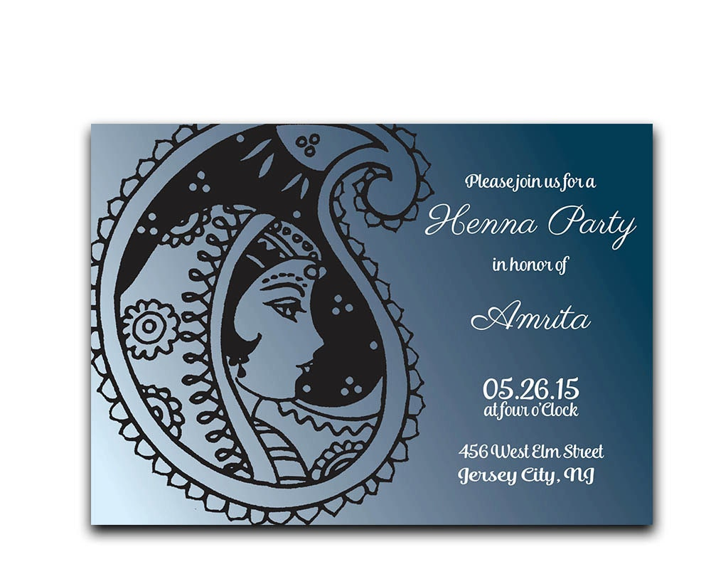Mehndi Party Card : Henna party invitation mehndi ceremony