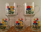 Vintage Luminarc Floral Coffee Mugs. Clear Glass with Yellow, Red and Blue Flowers. Set of Five Retro, Mod Coffee Cups. Vintage Kitchen.