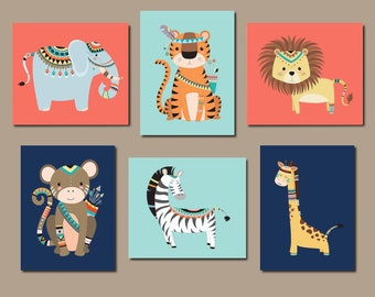 JUNGLE Nursery Wall Art, Tribal Jungle Animals, Jungle Nursery Decor Jungle Nursery Art Boy Gender Neutral Nursery Set of 6 Prints Or Canvas